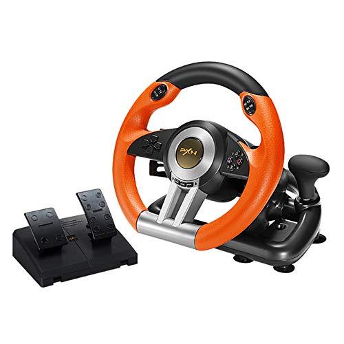 MXMYFZ Racing Gaming Volante, retroalimentación de vibración Dual con Pedal, simulador de automóviles USB, PC Compatible/PS/Switch/Xbox One,Naranja