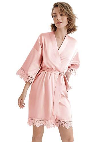 SIORO Bata ligera de seda mujer Albornoces Kimono satinado Encaje Ropa de dormir corta para pájaro