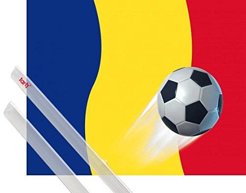 1art1 Fußball Poster (50x40 cm) Rumänien Länder-Flagge Inklusive EIN Paar Posterleisten, Transparent