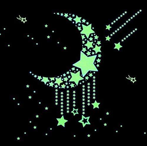 mengzhong Star maan fluorescerende muur sticker lichtgevende sticker kinderkamer slaapkamer plafond verwijderbare cartoon achtergrond romantische sticker