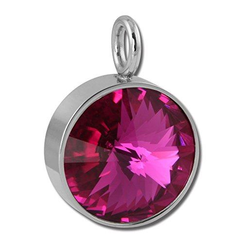 Amello Zirkonia Ketten-Anhänger Edelstahl Swarovski Elements pink ESHS02P