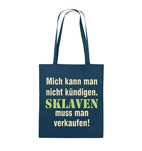 Comedy Bags - Mich kann Man Nicht kündigen. Sklaven Jutebeutel - Lange Henkel - 38x42cm - Farbe: Navy/Beige-Hellgrün