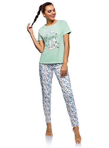 oodji Ultra Women's Cotton Pajama Set with Pants, Green, US 4 / EU 38 / S