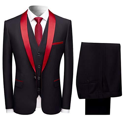 Sliktaa Herren Anzug 3 Teilig Slim Fit Reihe einfarbig Stoff Business Shawl Kragen Rot XX-Large