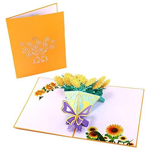 FairytaleMM 3D pop-up kaart bloemenboeket zonnebloempitten wenskaart handgemaakt voor Valentijnsdag verjaardag graduatie - geel (zonnebloemboek)