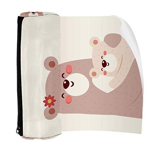 Lindo oso mamá y niños patrón lápiz bolsa bolsa lindo pluma cremallera bolsa para papelería viaje escuela estudiante suministros