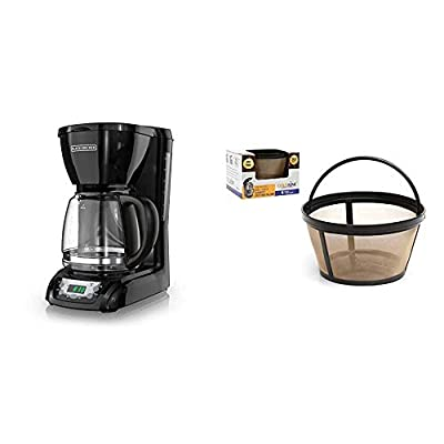 BLACK+DECKER DLX1050B 12-cup Programmable Coffee Maker with glass carafe, Black & GOLDTONE Reusable 8-12 Cup Basket Coffee Filter fits Mr. Coffee Makers and Brewers, BPA Free.