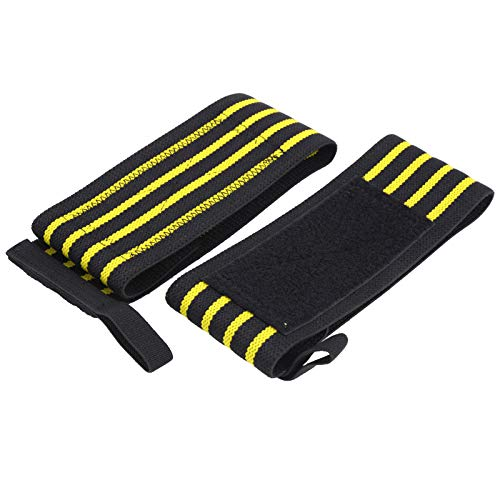 Tyngdlyftande Handledsremmar, Tyngdlyftande Handledsstödremmar med Tummenöglor, Säljs i Par-handlindade Skyddsremmar, för Gym/Styrketräning/Tyngdlyftning(Gul/svart)