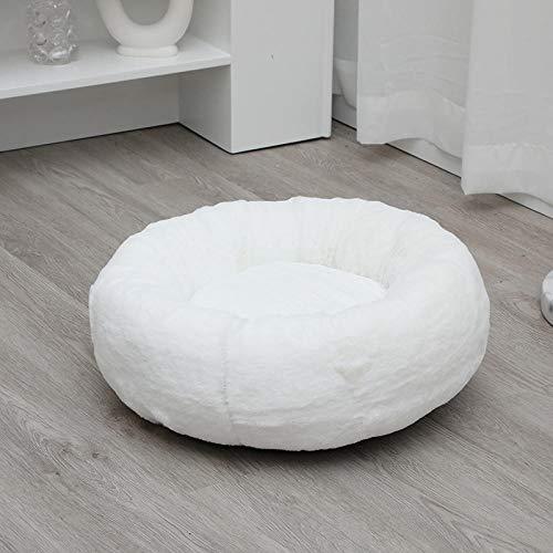 B/H Cama Gato Suave Cama Perro,para Perros y Gatos,Deep Sleep Kennel Cat Kennel cálido Redondo Pelo Largo cojín Gato colchón-White_120cm