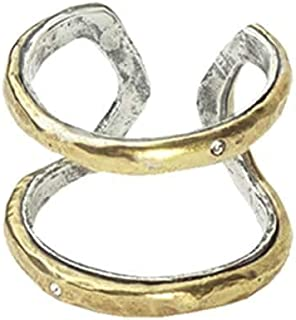 Waxing Poetic Honey Love Brass, Sterling Silver and Swarovski Crystals Open Band Frame Ring
