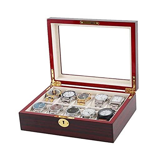 LGR Schmuckschatulle Uhrenschachtel 10 Holzuhr Dunkelrot Ebenholz Farbe Uhrenschachtel Massivholz Schmuck Display Aufbewahrungsbox