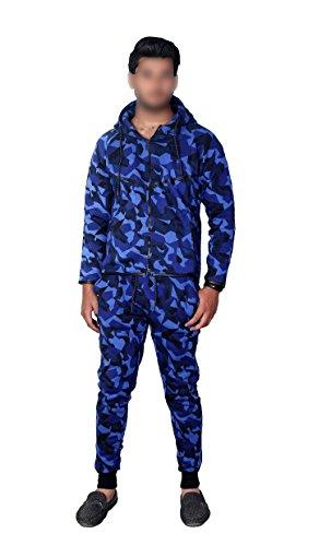 MyMixTrendz Kinder Armee Jungen Camouflage Design Camo GirlsTracksuit Hoodie Reißverschluss Jogger 2 Stück Designer Anzug (11-12Year, Camo Blau)