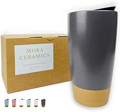 Mora Double Wall Ceramic Coffee Travel Mug with Lid 14 oz Portable Microwave Dishwasher Safe product image