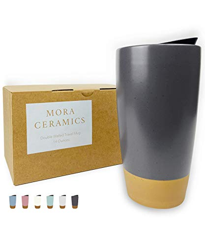 Mora Double Wall Ceramic Coffee Travel Mug with Lid