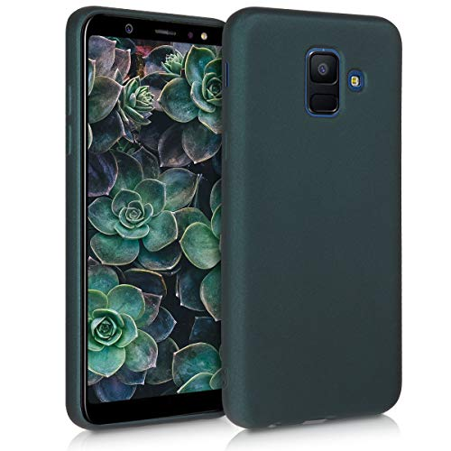 kwmobile Hülle kompatibel mit Samsung Galaxy A6 (2018) - Hülle Silikon metallisch schimmernd - Handyhülle Metallic Petrol