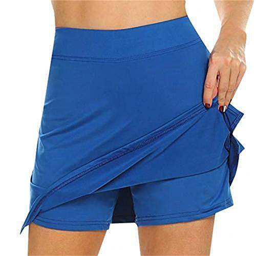 N\P Mini falda deportiva de doble capa con bolsillo elástico de tenis para mujer