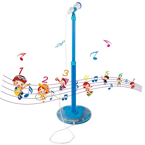 PeleusTech Childrens Karaoke Machines, Kids Karaoke Stand Microphone Adjustable Cool Music Microphone Toy with Light Effect - (Blue)