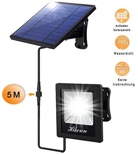 LED Solarlampen für Außen,5m Kabel,trennbare Ultrahelle Sorlarleuchten,4400mAh große Kapazität Batterie,Energiesparend,IP65 Wasserdichte,für Garten,Haustür,Garage,Dach usw.