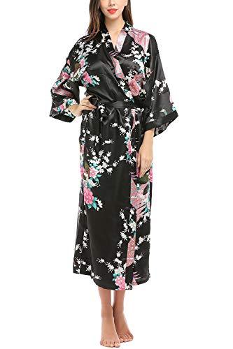 YAOMEI Kimono Robe Femmes Longue, Femmes Chemises de Nuit Paon Fleurs, Soyeux Robe Peignoir en Satin de Soie Robe de Nuit de Demoiselle d'honneur Pyjamas Version étendue (XL(44-52EU), Noir)