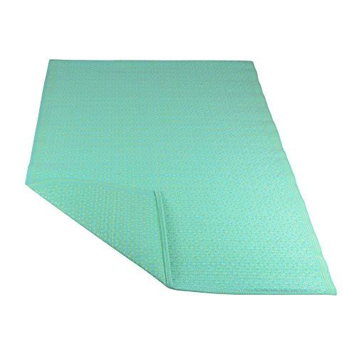 RM Design Indoor & Outdoor Teppich für Terrasse, Balkon & Haus, Türkis & Grün mit Muster, 120 x 180 cm