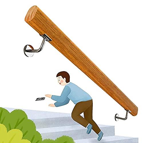 Handrail 1ft-20ft. Pasamanos de la escalera de madera antideslizante profesional Hogar contra la pared Interior Loft Barandillas mayores, Rodilla de soporte de corredor, escaleras Riel de mano de la c