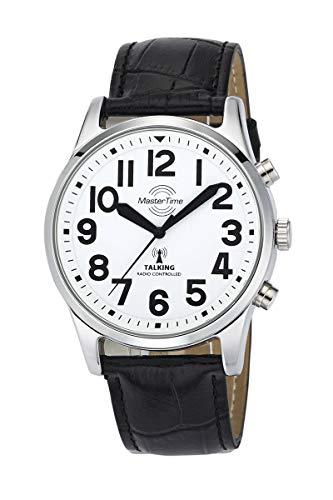 Master Time Funk Quarz Sprechende Herren Uhr Analog mit Leder Armband MTGA-10690-60L