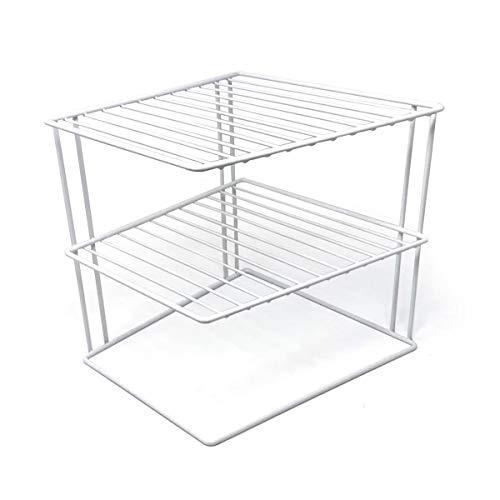 No-Wobble Plate Rack for Kitchen Cupboard Storage | Corner Plate Rack Cupboard Shelf Organiser 25x25x19cm, White