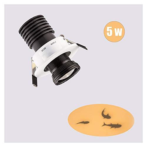 Aione LED strahler GOBO Projektor 5W Motiv Beleuchtung Schärfe und Links und Rechts um 15 Grad winkelverstellbar Einbauspots COB Effekt Lichter Motiv Fisch Einbauleuchte,D