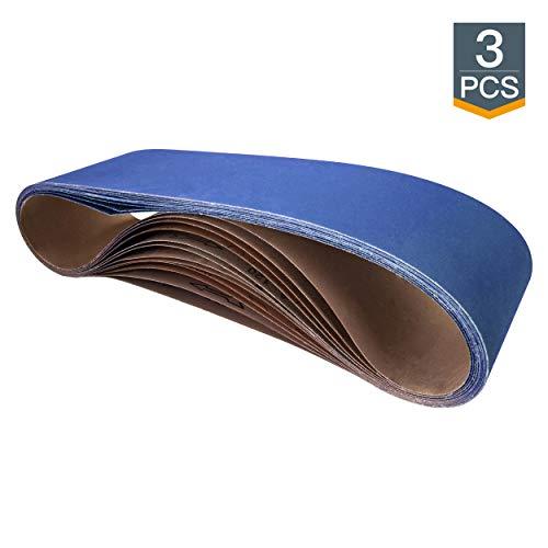 POWERTEC 464812Z-3 6' x 48' Sanding Belts, 120 Grit Zirconia Metal Grinding Sand Paper – 3 Pack