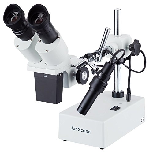 AmScope SE420Y Professional Binocular Stereo Microscope, WF10x and WF15x Eyepieces, 20X and 30X Magnification, 2X Objective, Tungsten Lighting, Boom-Arm Stand, 110V-120V