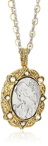 Symbols of Faith 14k Gold-Dipped and Silver-Tone Crystal AB Angel Locket Necklace, 24'