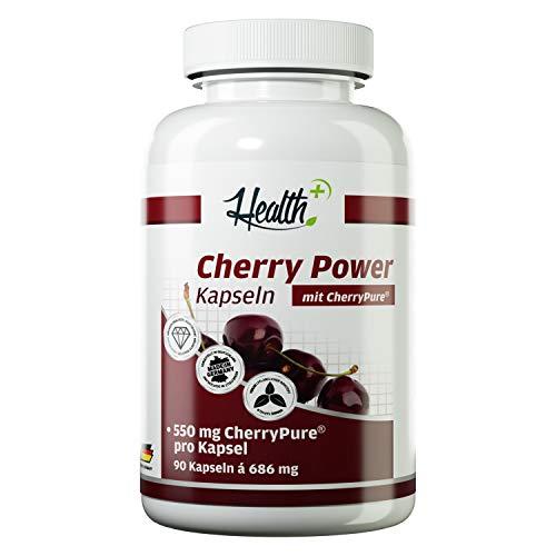 Health+ Cherry Power - 90 Kirschextrakt-Kapseln, 550 mg Cherry Pure aus der Montmorency Kirsche, hochdosiert und reich an Vitaminen, Mineralstoffen & Antioxidantien, Made in Germany