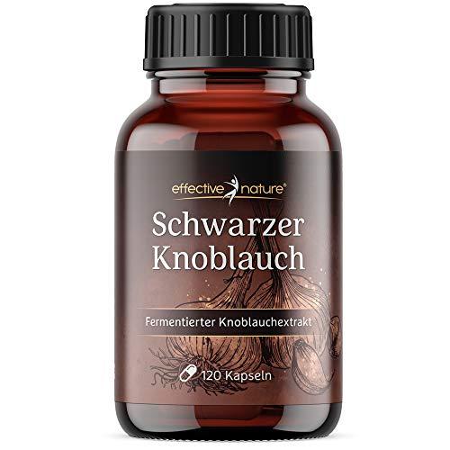Effective Nature Schwarzer Knoblauch – Fermentierter Knoblauchextrakt, Hochdosiert, Ohne Zusatzstoffe, Vegan, 120 Kapseln