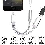 Adaptateur Type C/Jack pour Sony Xperia XZ3 Smartphone Chargeur Ecouteurs 2 en 1 Casque (Argent)