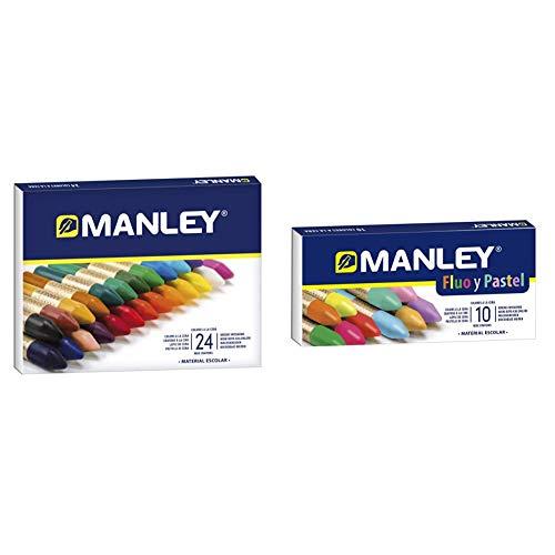 Manley Ceras 24 Unidades Caja de Cera Profesional y Ceras para Niños + Estuche 10 ceras Colores Especiales (FLUO+ PASTEL)