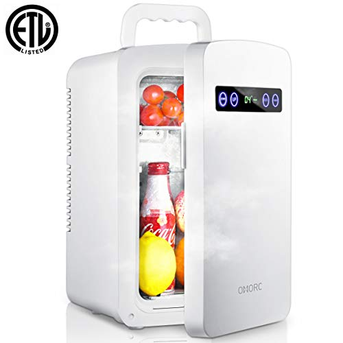OMORC Tiny Fridge, 10L Mini Fridge Cooler& Warmer 10L Car Refrigerator with LED Display/Dual-Core System/ECO for Saving Energy and Super Quiet, Personal Office Fridge- AC & DC for Home Car Outdoor Use