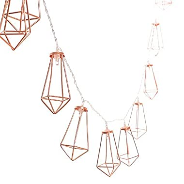 Ling's moment 5Ft Rose Gold Geometric Boho LED Bedroom Fairy Lights Battery Powered Metal Cage String Lights Paris Lamp for Wedding Party Indoor Bridal Shower Decorations Wall Terrarium (Warm White)