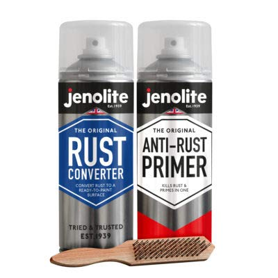 JENOLITE Rust Restoration Kit - Rust Converter Aerosol 400ml + Anti-Rust Red Oxide Primer Aerosol...