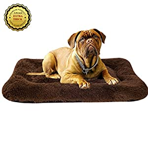 Poohoo Soft Plush Dog Bed,Dog Crate Bed Pet Cushion Pet Pillow Bed Washable,Non-Slip Crate Dog Bed Crate Mat Pet Bed for Medium Large Dogs