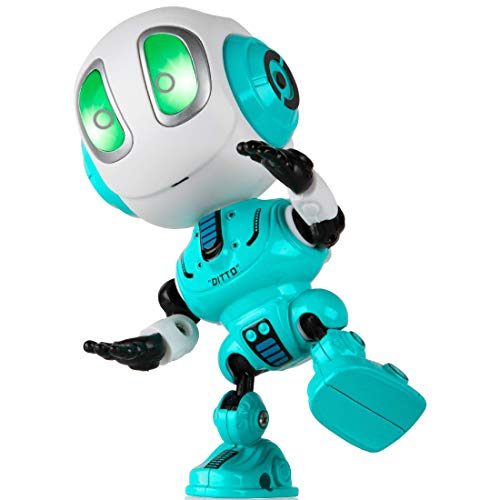 Force1 Ditto Mini Talking Robots for Kids - Robot Voice Changer Toy with Posable Body and LED Eyes, Blue