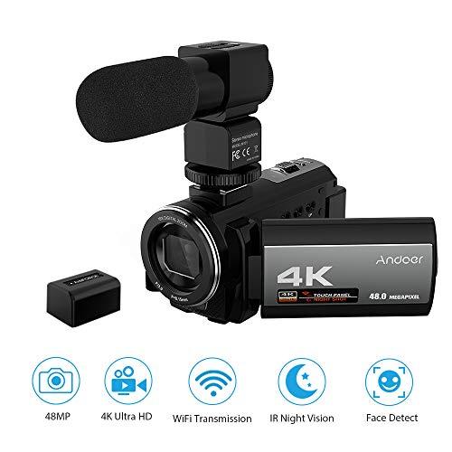 Videocamara 4k WiFi Andoer Ultra HD Grabadora de Videocámara 1080P 48MP 60FPS 30FPS IR Visión Nocturna Cámara Digital,con Micrófono,Detección de rostros,Anti Shake DSP,3.0''Pantalla Táctil