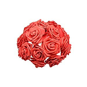 Daydreaming-shop 24Pcs 7Cm White Rose Artificial Pe Foam Rose Flower Wedding Decoration Bridal Bouquet Scrapbooking Craft Fake Flower Supplie-Red-