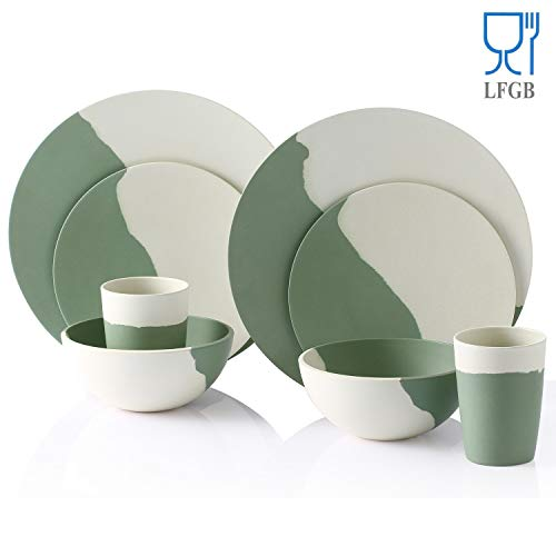 Bamboo Dinnerware Set, Morgiana 8-Pieces Reusable Tableware Set Bamboo Fiber Plates, Cups, Bowls (White&Green)