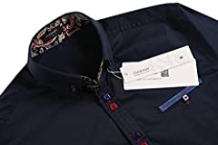 Coofandy Men's Fashion Slim Fit Dress Shirt Casual Exotic Shirt Dark Blue Large #2