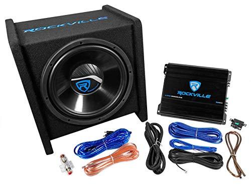 Rockville RV12.1C 600w 12' Loaded Car Subwoofer Enclosure+Mono Amplifier+Amp Kit