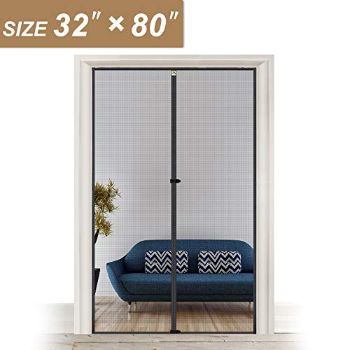 Magnetic Screen Door 39 x 82, Strengthened Fiberglass Insect Fly Mesh with Full Frame Hook & Loop...