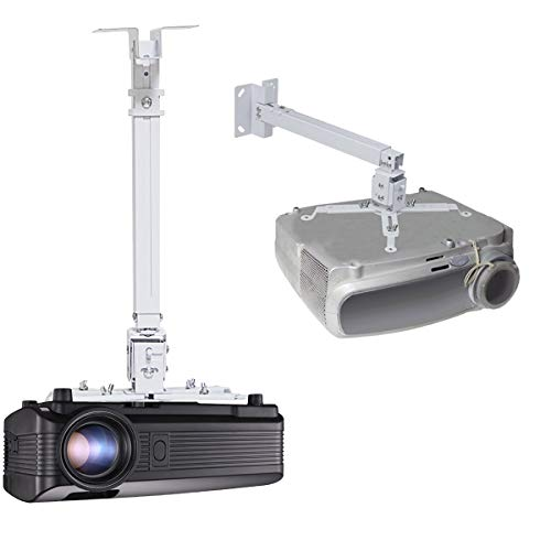Extendable Ceiling Projector Mount Adjustable Projector Wall Mount Universal Projector Mount 15-23.6 inch Thickened Steel for LCD/DLP Ceiling Projector BenQ, ViewSonic, Epson, Optoma, Asus Acer White