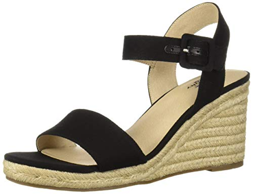 LifeStride Women's Tango Espadrille Wedge Sandal, Black, 8 M US