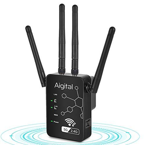 Aigital 1200Mbps Repetidor de Red WiFi Extensor Señal Amplificador Enrutador Inalámbrico Doble Banda 2.4GHz & 5G, WiFi Booster con 4 Antenas Externas en Largo Alcance
