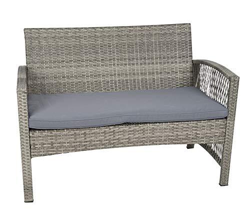 MT MALATEC Polyrattan Gartenmöbel Sitzgruppe Sofa Garnitur Gartenmöbel Gartenset Tisch 11961, Farbe:Grau - 3